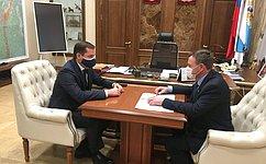 Врамках работы вАрхангельской области В.Новожилов встретился сгубернатором региона А.Цыбульским
