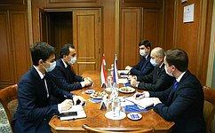И. Умаханов провел встречу сПослом Таджикистана вРФ И.Сатторовым