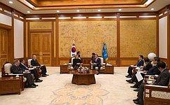 Состоялась встреча Председателя Совета Федерации Валентины Матвиенко сПрезидентом Республики Корея Мун Чжэ Ином