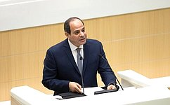 President oftheArab Republic ofEgypt delivered aspeech attheFederation Council