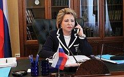 Состоялся телефонный разговор Председателя СФ сПредседателем Милли Меджлиса Азербайджана