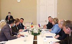 Председатель СФ В. Матвиенко провела встречу сПредседателем Парламента Республики Молдова З.Гречаный