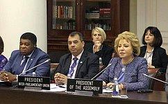 В. Матвиенко: Санкт-Петербургская Ассамблея внесет весомый вклад вразвитие глобального межпарламентского диалога
