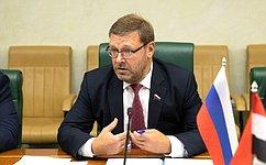 К. Косачев: ВСовете Федерации выступают зауважение суверенитета итерриториальной целостности Ирака