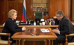 В.Матвиенко иВ.Владимиров обсудили перспективы социально-экономического развития Ставрополья
