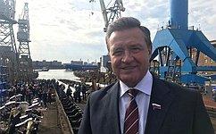 С. Рябухин принял участие вцеремонии спуска наводу первого серийного атомного ледокола «Сибирь»