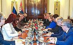 Valentina Matvienko, Chairperson of the Council of the Federation, holds a meeting with Maja Gojković, President of the National Assembly of the Republic of Serbia