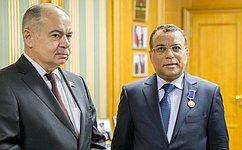 Вице-спикер СФ И. Умаханов провел встречу спослом Королевства Саудовская Аравия вРФ А. Джаафаром