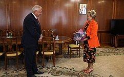 Председатель СФ В. Матвиенко встретилась сПредседателем Коллегии Евразийской экономической комиссии М.Мясниковичем