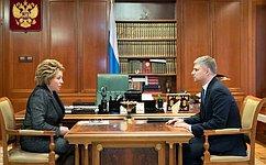 Председатель СФ В.Матвиенко провела встречу спрезидентом  РЖД О.Белозеровым