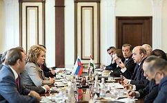 В. Матвиенко отметила активизацию межпарламентского диалога между Россией иТаджикистаном