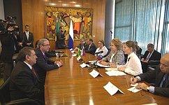 Председатель СФ В. Матвиенко провела встречу сПредседателем Палаты депутатов Национального конгресса Бразилии