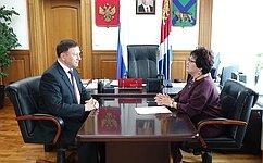 Л.Талабаева встретилась спредседателем заксобрания Приморского края А.Роликом