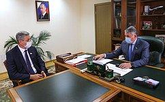 Вице-спикер СФ Ю. Воробьев провел рабочую встречу спредседателем Законодательного Собрания Вологодской области А. Луценко