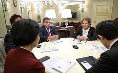 В.Матвиенко провела встречу спредседателем группы Национального Собрания Республики Корея посотрудничеству сФС РФ Чу Ми Э