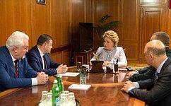 Председатель СФ В.Матвиенко иглава Тамбовской области А.Никитин обсудили социально-экономическое развитие региона