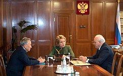В.Матвиенко провела встречу сглавой Хакасии В. Зиминым