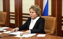 В. Матвиенко провела совещание счленами Совета при Президенте РФ пореализации государственной политики всфере защиты семьи идетей