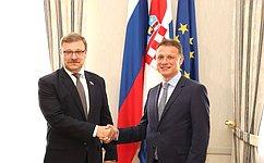 К.Косачев: Позиция российских парламентариев поосновным международным вопросам синтересом воспринята хорватскими коллегами