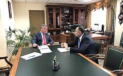 Ю.Воробьев провел рабочую встречу сПослом Республики Армения вРоссийской Федерации В.Тоганяном