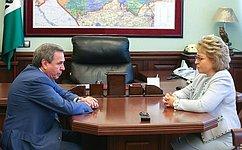 Состоялась встреча Председателя Совета Федерации В.Матвиенко сгубернатором Новосибирской области В.Городецким