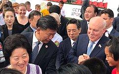 Д. Мезенцев иВице-премьер Госсовета КНР Сунь Чуньлань открыли вМоскве детский футбольный матч накануне ЧМ-2018