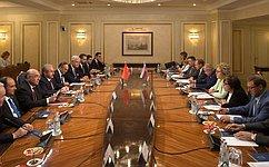 Председатель СФ В.Матвиенко провела встречу сПредседателем Великого национального собрания Турции М.Шентопом