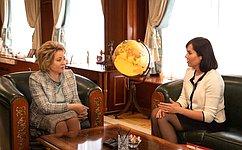 В. Матвиенко стала наставником С.Костиковой— одной изпобедительниц всероссийского конкурса «Лидеры России»