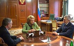Председатель СФ В.Матвиенко провела встречу сГлавой Республики Карелия А.Парфенчиковым