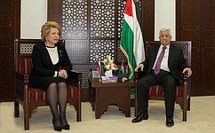 В. Матвиенко иМ. Аббас обсудили развитие российско-палестинского сотрудничества иситуацию наБлижнем Востоке