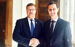 К.Косачев: Совместная делегация Совета Федерации иЕвропарламента посетила Сирию ибыла принятаБ.Асадом
