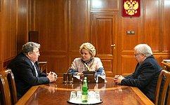 Председатель Совета Федерации В.Матвиенко провела встречу сглавой Республики Мордовия В.Волковым