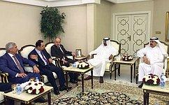 Заместитель Председателя СФ И.Умаханов входе визита вКатар встретился сПредседателем Консультативного Совета Мухаммедом Бен Мубараком Аль-Хулейфи