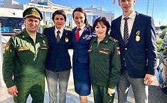 Т. Лебедева приняла участие вцеремонии принятия военной присяги новобранцами спортивных рот ЦСКА