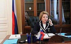 Председатель СФ, Председатель Совета МПА СНГ В. Матвиенко провела телефонный разговор сПредседателем Сената Олий Мажлиса Республики Узбекистан Т. Нарбаевой