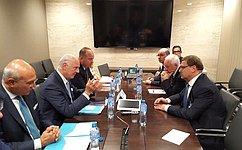 Председатель Комитета СФ помеждународным делам К. Косачев встретился соспецпосланником генсека ООН поСирии С.деМистура