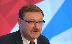 К.Косачев: К137-й Ассамблее МПС вСанкт-Петербурге планируется подготовить парламентский доклад поситуации вСирии