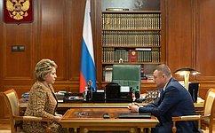 Председатель СФ иглава Тамбовской области обсудили ход исполнения национальных проектов ифедеральных программ