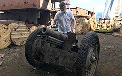 Д. Василенко: Входе проведения реставрационных работ споднятой изНевы полковой пушкой стал известен номер орудия