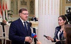 Российские сенаторы готовы обеспечить информацией коллег изТаджикистана поразвитию ЕАЭС— К.Косачев