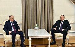 Вице-спикер СФ И. Умаханов входе визита вБаку встретился сПрезидентом Азербайджана И. Алиевым