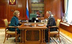 Председатель СФ В.Матвиенко провела встречу сгубернатором Тюменской области А.Моором