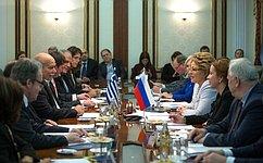 Председатель Совета Федерации В. Матвиенко провела встречу сПредседателем Парламента Греции Н. Вуцисом