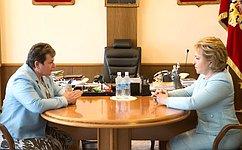 Председатель СФ В.Матвиенко игубернатор Владимирской области С.Орлова обсудили социально-экономическое развитие региона