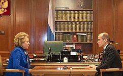 В.Матвиенко обсудила сА.Бречаловым вопросы социально-экономического развития Удмуртии