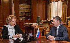 Председатель Совета Федерации В. Матвиенко обсудила сГубернатором Тюменской области В. Якушевым вопросы социально-экономического развития региона