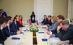 Federation Council Speaker Valentina Matviyenko meets with President of the National Assembly of Armenia Ararat Mirzoyan