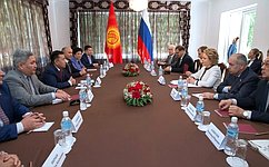 Председатель СФ, Председатель Совета МПА СНГ В.Матвиенко встретилась сПредседателем Жогорку Кенеша Киргизской Республики Ч.Турсунбековым
