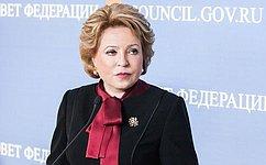 В. Матвиенко направила приветствие участникам XVII Всемирного конгресса русской прессы