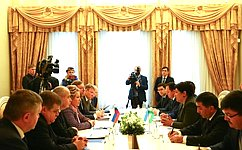 Председатель СФ, Председатель Совета МПА СНГ В.Матвиенко встретилась сПредседателем Сената Парламента Узбекистана Т.Нарбаевой